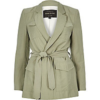 Green belted safari jacket