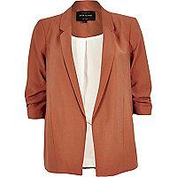 Dark orange ruched sleeve blazer