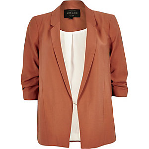 Dark orange ruched sleeve blazer
