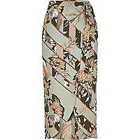Grey floral print wrap midi skirt