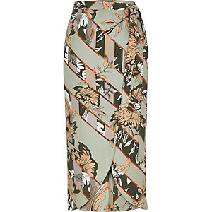 Grey floral print wrap midi skirt
