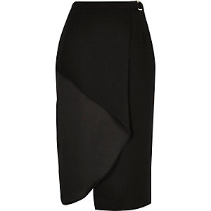 Black frilly wrap front skirt