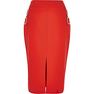 Red buckle split front pencil skirt