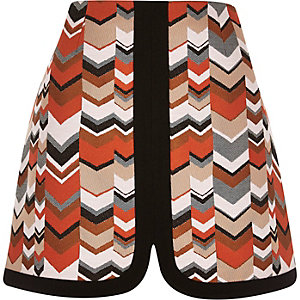 Orange zig zag A-line skirt