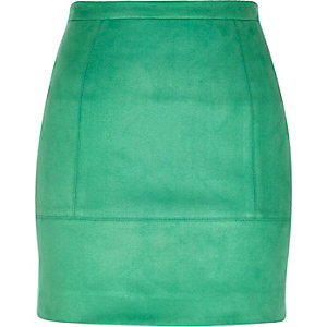 Green faux suede A-line skirt
