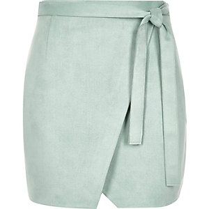 Mint green faux suede wrap mini skirt