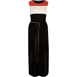 Black crepe belted tunic
