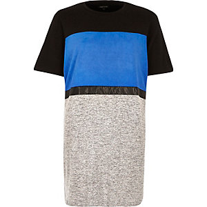 Blue color block oversized t-shirt