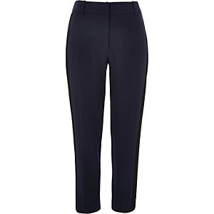Navy side stripe slim pants