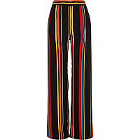 Black stripe high waisted wide leg pants