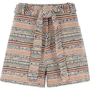 Blue woven jacquard shorts
