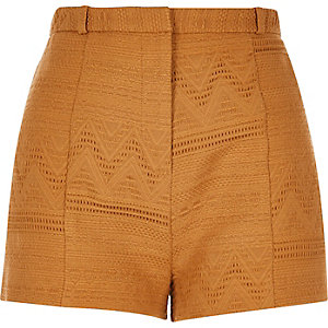 Dark yellow woven geometric shorts