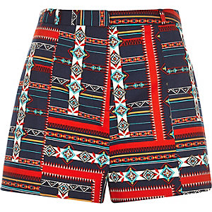 Red geometric print high waisted shorts