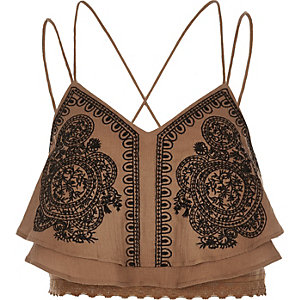 Brown embroidered cropped cami