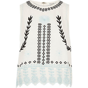 Cream print embroidered tank top