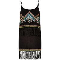 Schwarzes, verziertes Kleid mit Fransen
