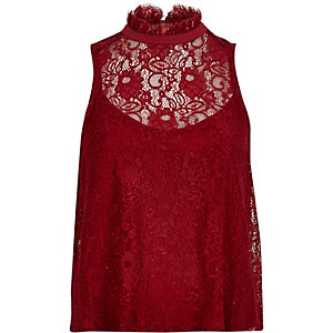 Red lace high neck top