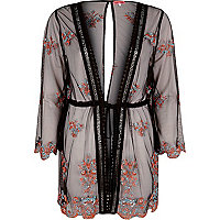 Black mesh embroidered kaftan
