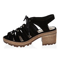 Black lace-up chunky mid heel sandals