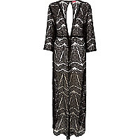 Black lace maxi kaftan