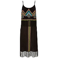 Black fringe midi dress
