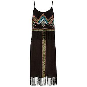 Black fringe midi dress