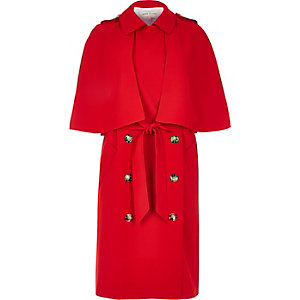 Red cape trench coat