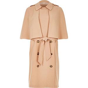 Beige cape trench coat