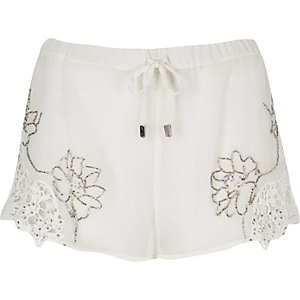 White embellished shorts