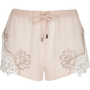 Light pink embellished shorts