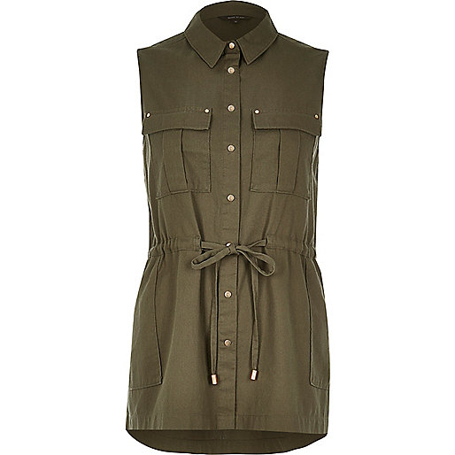 Khaki sleeveless military shirt