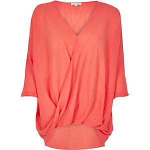 Orange wrap blouse