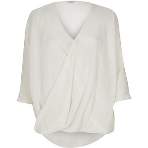 White wrap blouse
