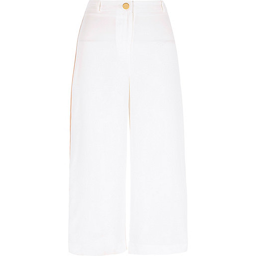 White side stripe cropped culottes