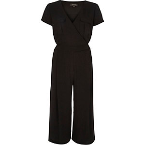 Black smart minimal culotte jumpsuit
