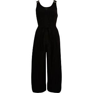 Black soft culotte jumpsuit