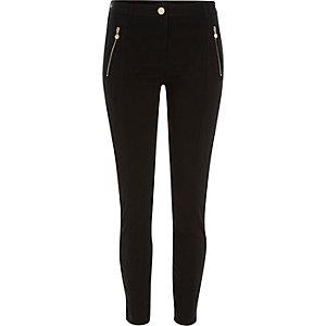 Black zip detail skinny trousers