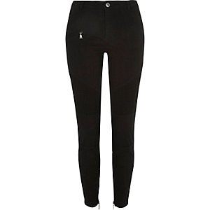 Black skinny biker pants