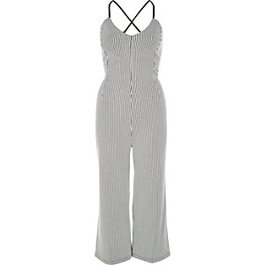 White stripe culotte jumpsuit