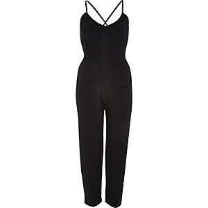Black smart tapered jumpsuit