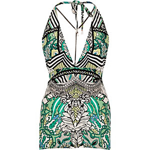 RI Resort green print playsuit