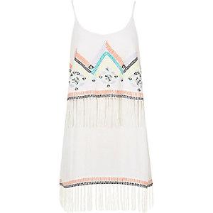 White embroidered fringe dress