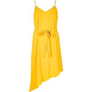 Yellow asymmetric slip dress