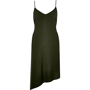 Khaki asymmetric slip dress