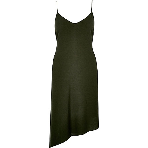 Khaki asymmetric slip dress