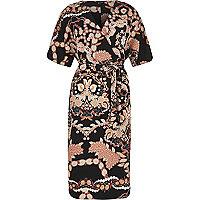 Black printed wrap kimono dress