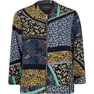 Black floral print bomber jacket