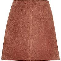Rust brown suede mini skirt