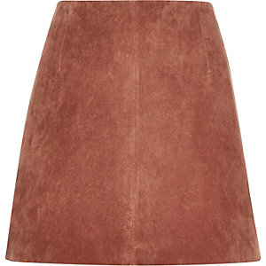 Rust brown suede mini skirt