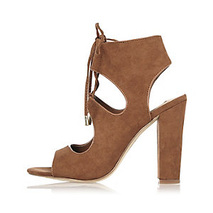 Light brown lace-up heel sandals